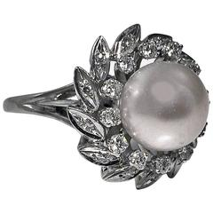 Pearl Diamond Gold Cluster Ring