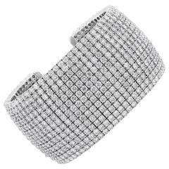 43.47 Carats Diamonds Gold 13 Row Cuff Bracelet