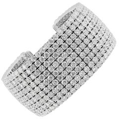 43.47 Carats Diamond 9 Row Gold Cuff Bracelet