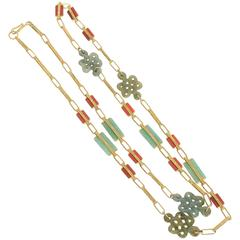 Jade Carnelian Gold Long Chain Necklace