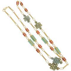 Jade Carnelian Gold Long Chain Necklace