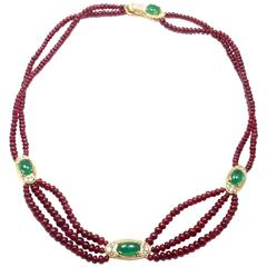 Van Cleef & Arpels Ruby Bead Emerald Diamond Gold Necklace