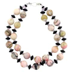 Necklace of Natural Peruvian Opals& Onyx