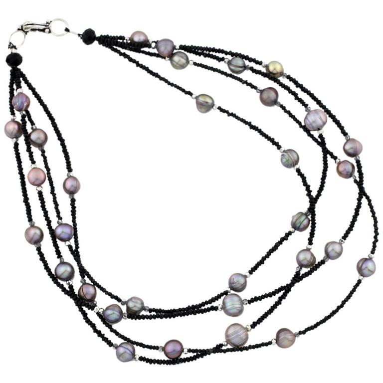Black Spinel and Rondel Pearls Necklace