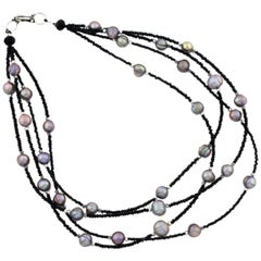 Sparkling Black Spinel and Cultured Pearls Necklace