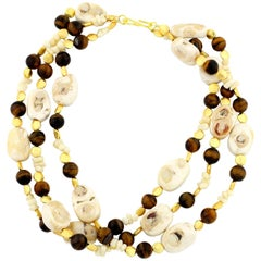 Gemjunky Double Strand Impressive Natural Coral & Chocolate Tiger Eye Necklace