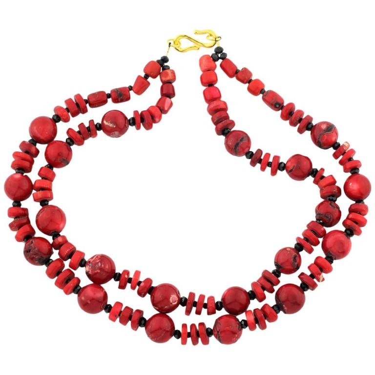 Natural Bamboo Coral & Coral Necklace
