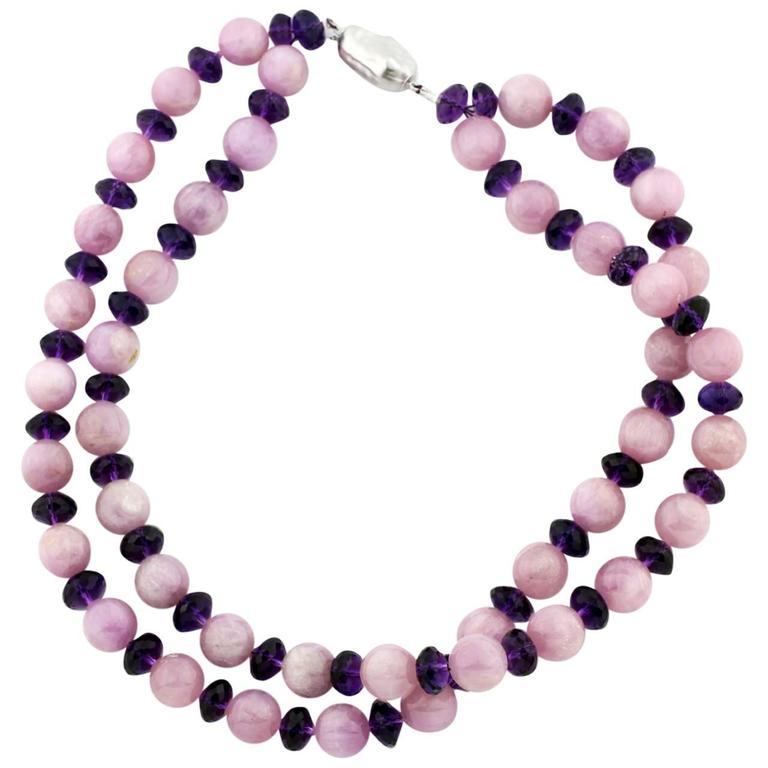 Kunzites & Sparkling Amethysts Necklace