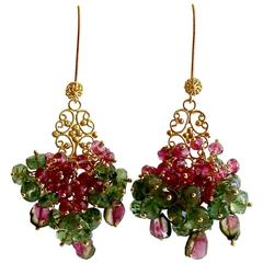 Rubellite Green Apatite Watermelon Tourmaline Cluster Earrings