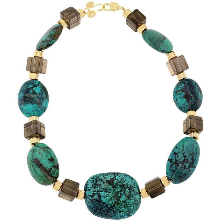 Blue-green Turquoise & Smoky Quartz Necklace