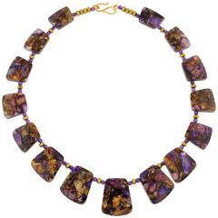 Multi-Color Jasper & Amethysts Necklace