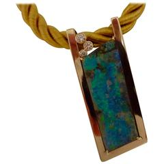 Boulder Opal Diamond Gold Slide Pendant