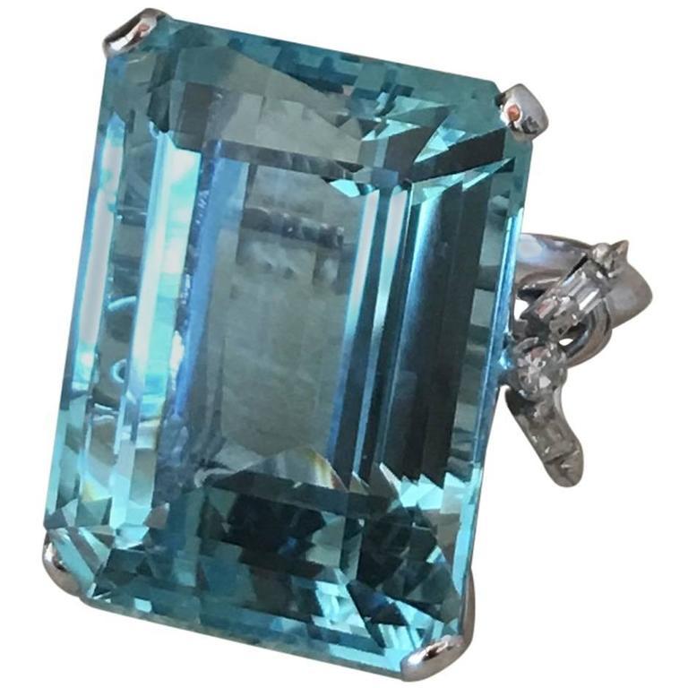 51.48 Carat Aquamarine Diamond Platinum Ring