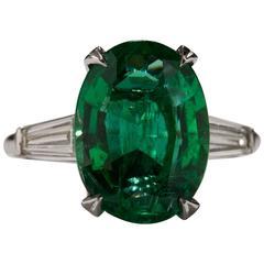 1960s 4.31 Carat Emerald Diamond Platinum Ring