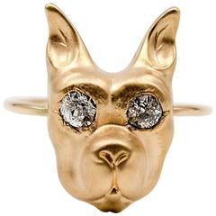 Amusing Diamond Buffed Gold Boxer Ring