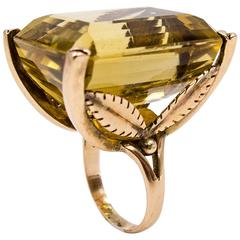 Massive Retro Citrine Topaz Gold Ring