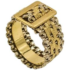 Two-Color Gold Woven Mesh Belt Band Ring