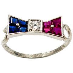 Art Deco Unusual Ruby Sapphire Diamond Platinum Mount Patriotic Bow Ring