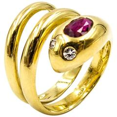 Leo Pizzo Elegant Italian Ruby Diamond Gold Serpent Ring