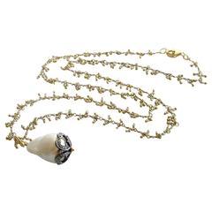 Micro Pearl Chain Diamond Cap Flameball Pearl Necklace