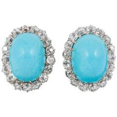 Turquoise Diamond Gold Platinum Earrings