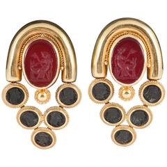 Carnelian Intaglio Clip Earrings