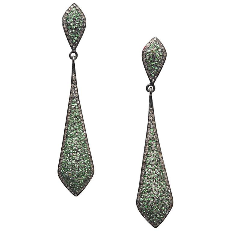 Pave set Tsavorite Diamond Oxidized Sterling Earrings