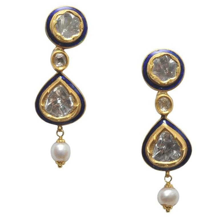 Indian Rosecut Diamonds, Blue Enamel and 22 Karat Gold Earrings with Pearl Drop For Sale