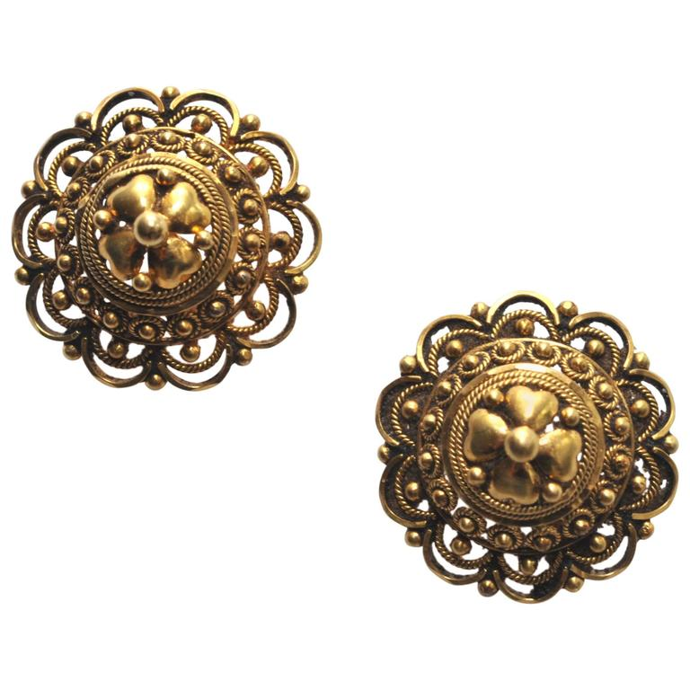 Indian Intricately Hand-Tooled Gold Stud Earrings