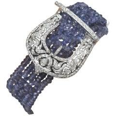 Tanzanite, Diamond and 18 Karat White Gold Buckle Beaded Bracelet