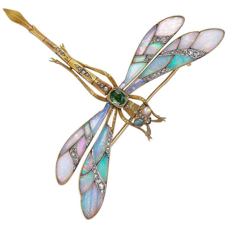 Gaston Lafitte Opal Diamond Tremblant Dragonfly Brooch For Sale at ...