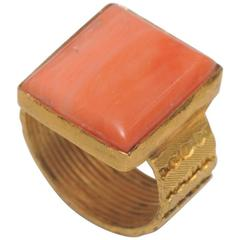 Italian Coral Textured Gold Band Ring