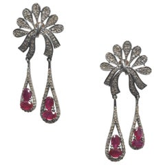 Diamond and Ruby Dangle Earrings