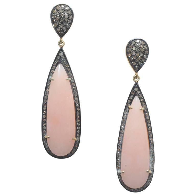 Pink Opal Diamond Gold Drop Earrings For Sale