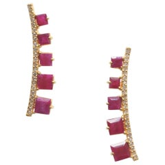 Faceted Ruby and Diamond Earrings