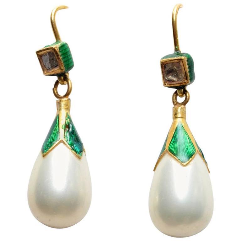 Enamel Pearls Rosecut Diamonds Gold Earrings