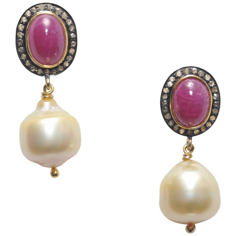 Cabochon Ruby and Diamond Post with Baroque Pearl Drop