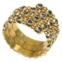Coil Ring with Faceted Sapphires