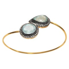 18 Karat Gold Green Amethyst 'Prasiolite' and Diamond Wrap Bracelet