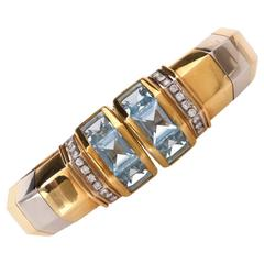 Stylish Aquamarine Diamond Gold Cuff Bracelet