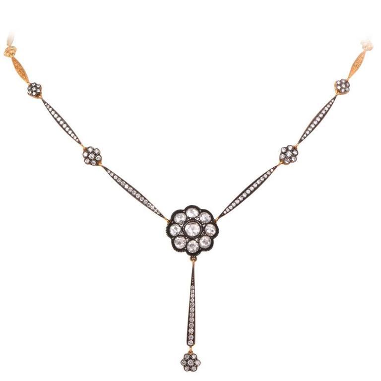 Rose-Cut Diamond Gold Pendant Necklace  1
