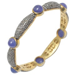 Cabochon Tanzanite and Pave` Diamond Bangle Bracelet