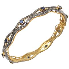 Faceted Sapphires Diamond Silver Gold Bracelet