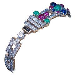 Art Deco Tutti Frutti Gemstone Platinum Bracelet