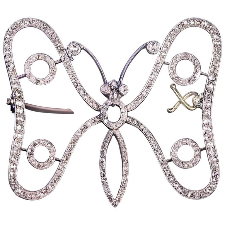 1900s Art Nouveau Antique Diamond Gold Butterfly Brooch Pin For Sale At 1stdibs