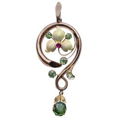 Antique Art Nouveau Demantoid Enamel Gold Pendant