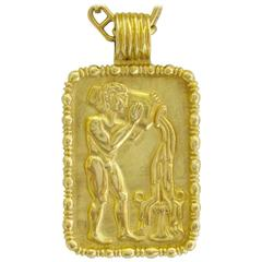 Fred of Paris Aquarius Zodiac Pendant Circa 1970