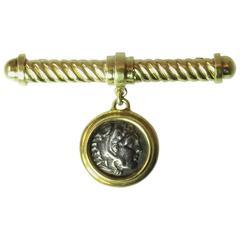 Alexander the Great Roman Coin Gold Flexible Bar Pin