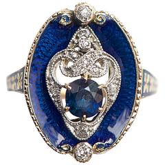Antique Enamel Sapphire Diamond Gold Ring