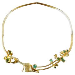 Klaus Neubauer 1970s Unique Modernist Green Gemstones Gold Necklace